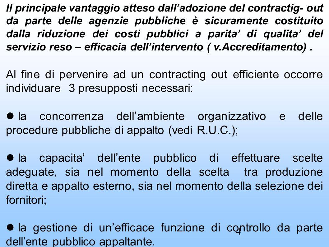 Il principale vantaggio atteso dall'adozione del contractig- out da parte delle agenzie pubbliche è sicuramente costituito dalla riduzione dei costi pubblici a parita' di qualita' del servizio reso – efficacia dell'intervento ( v.Accreditamento).