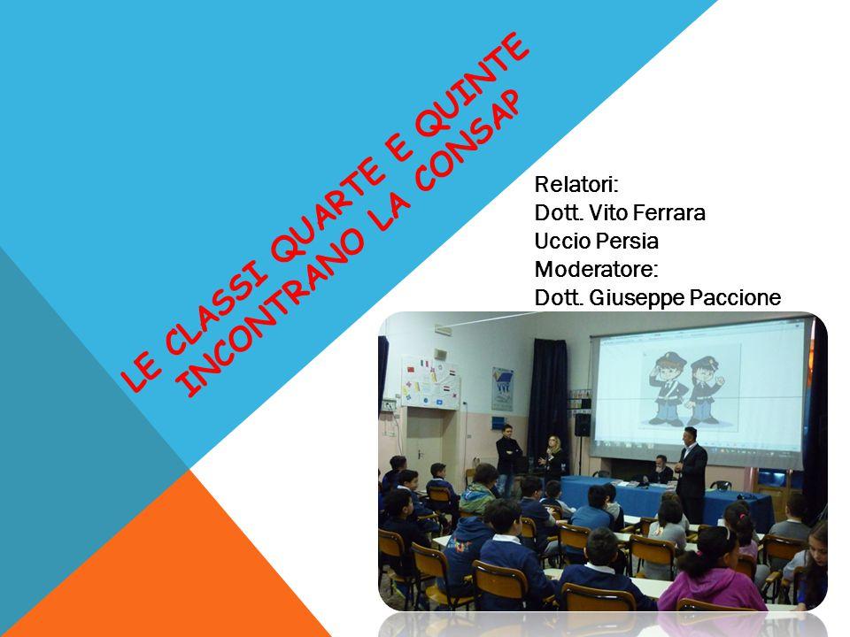 LE CLASSI QUARTE E QUINTE INCONTRANO LA CONSAP Relatori: Dott. Vito Ferrara Uccio Persia Moderatore: Dott. Giuseppe Paccione