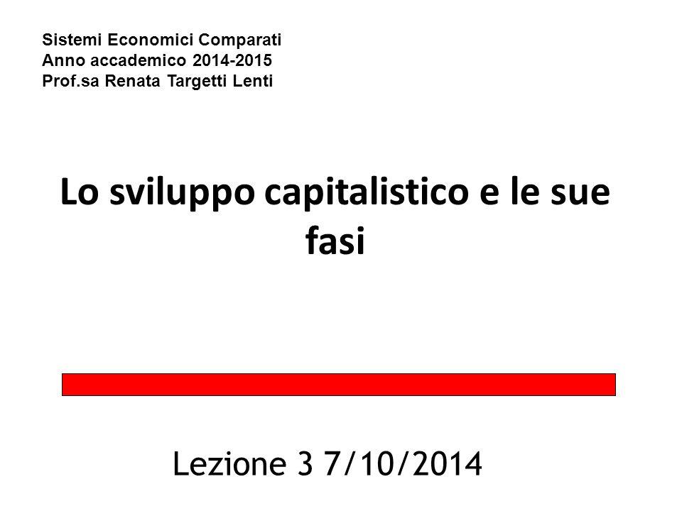Lo sviluppo capitalistico e le sue fasi Lezione 3 7/10/2014 Sistemi Economici Comparati Anno accademico 2014-2015 Prof.sa Renata Targetti Lenti