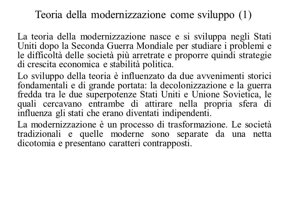 Teoria della modernizzazione come sviluppo (1) La teoria della modernizzazione nasce e si sviluppa negli Stati Uniti dopo la Seconda Guerra Mondiale p