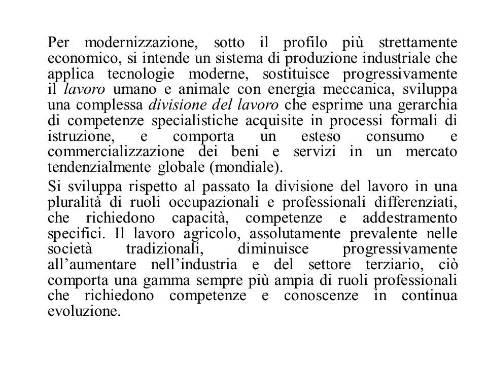 Per modernizzazione, sotto il profilo più strettamente economico, si intende un sistema di produzione industriale che applica tecnologie moderne, sost