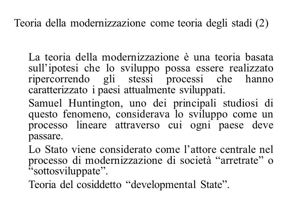 Teoria della modernizzazione come teoria degli stadi (2) La teoria della modernizzazione è una teoria basata sull'ipotesi che lo sviluppo possa essere