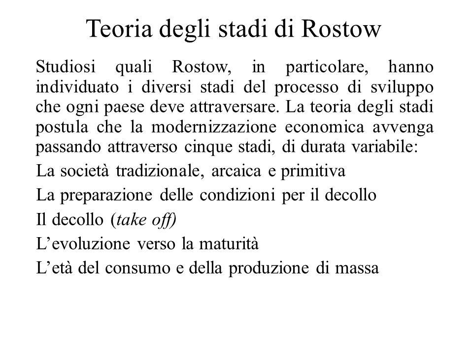 Teoria degli stadi di Rostow Studiosi quali Rostow, in particolare, hanno individuato i diversi stadi del processo di sviluppo che ogni paese deve att