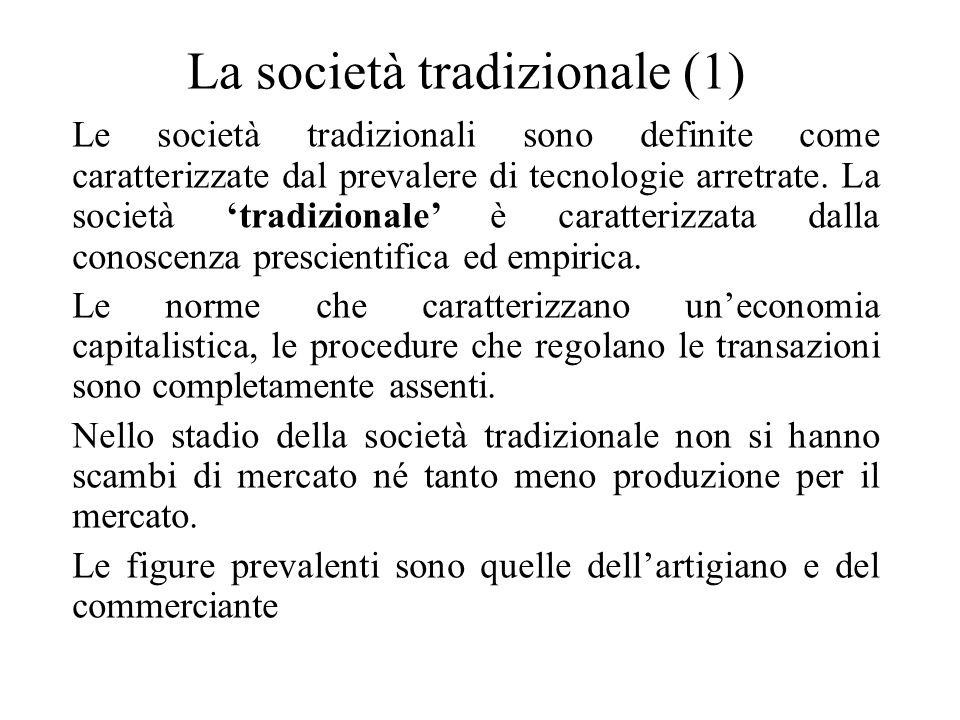 La società tradizionale (1) Le società tradizionali sono definite come caratterizzate dal prevalere di tecnologie arretrate. La società 'tradizionale'