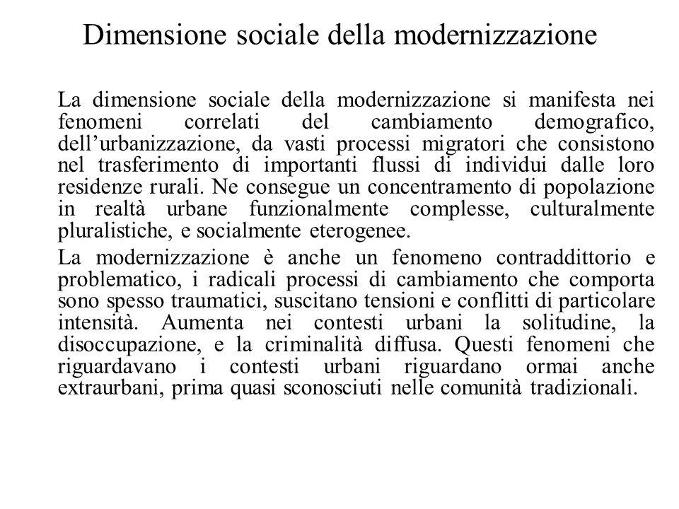 Dimensione sociale della modernizzazione La dimensione sociale della modernizzazione si manifesta nei fenomeni correlati del cambiamento demografico,