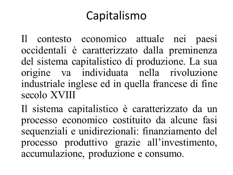 Capitalismo Il contesto economico attuale nei paesi occidentali è caratterizzato dalla preminenza del sistema capitalistico di produzione. La sua orig