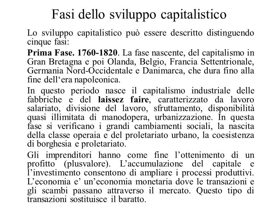 Fasi dello sviluppo capitalistico Lo sviluppo capitalistico può essere descritto distinguendo cinque fasi: Prima Fase. 1760-1820. La fase nascente, de