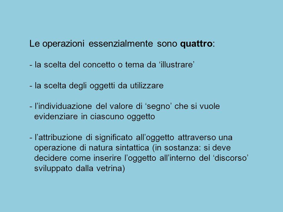 Le operazioni essenzialmente sono quattro: - la scelta del concetto o tema da 'illustrare' - la scelta degli oggetti da utilizzare - l'individuazione