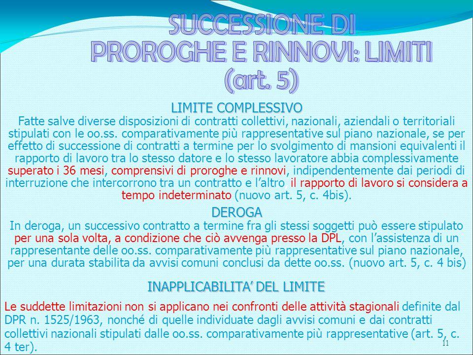 11 LIMITE COMPLESSIVO Fatte salve diverse disposizioni di contratti collettivi, nazionali, aziendali o territoriali stipulati con le oo.ss.