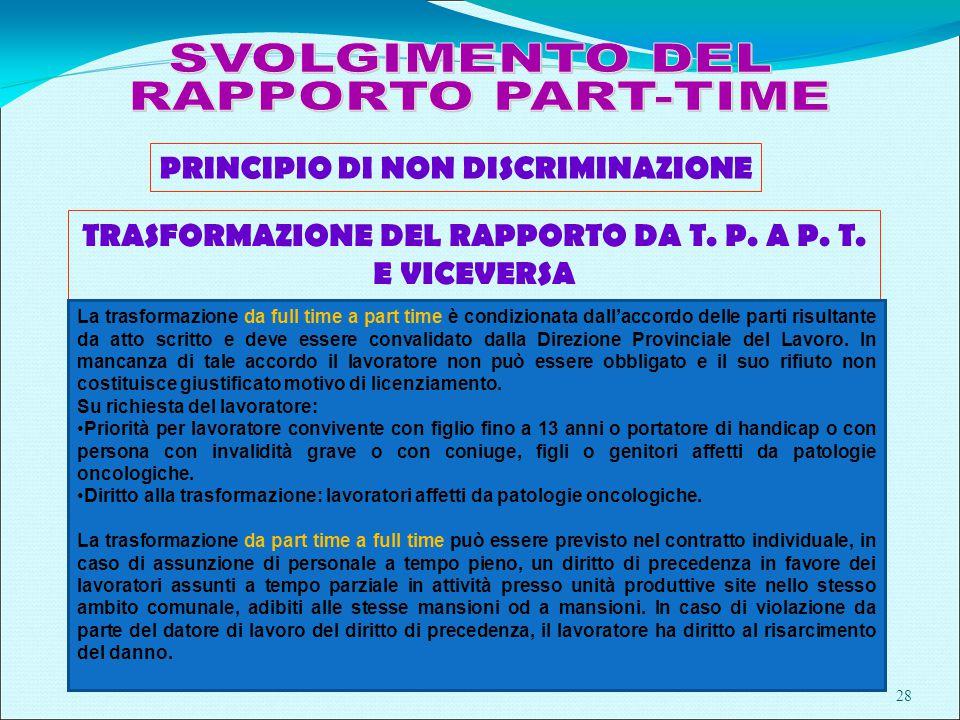 28 PRINCIPIO DI NON DISCRIMINAZIONE TRASFORMAZIONE DEL RAPPORTO DA T.