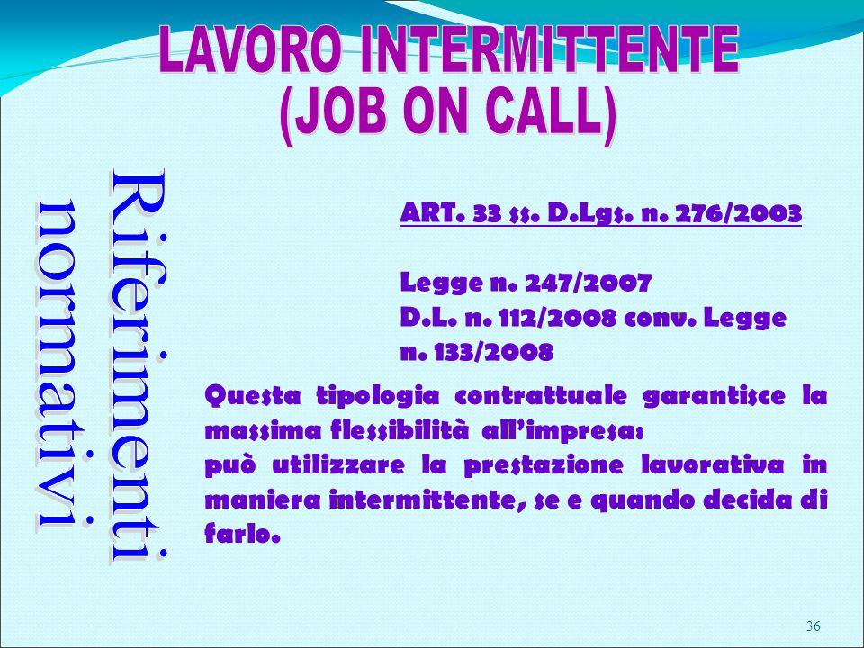 36 ART. 33 ss. D.Lgs. n. 276/2003 Legge n. 247/2007 D.L.