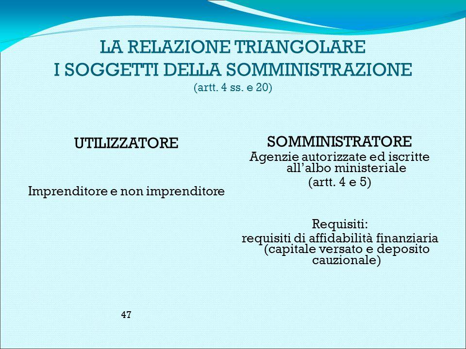 LA RELAZIONE TRIANGOLARE I SOGGETTI DELLA SOMMINISTRAZIONE (artt.