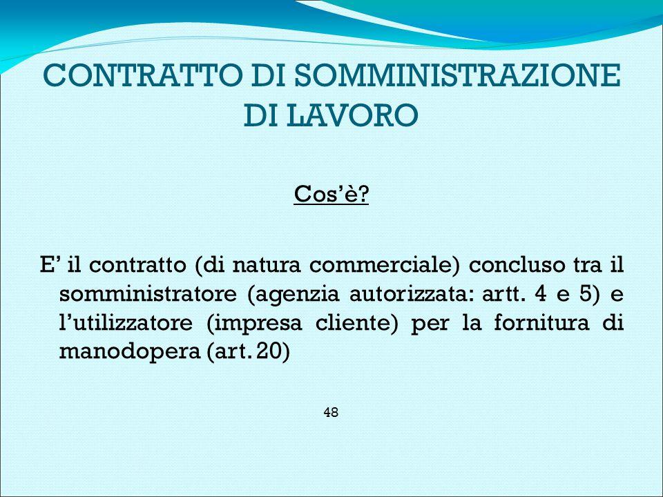 CONTRATTO DI SOMMINISTRAZIONE DI LAVORO Cos'è.