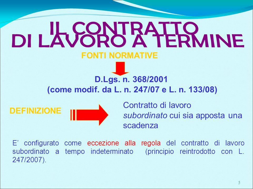 5 DEFINIZIONE FONTI NORMATIVE D.Lgs. n. 368/2001 (come modif.