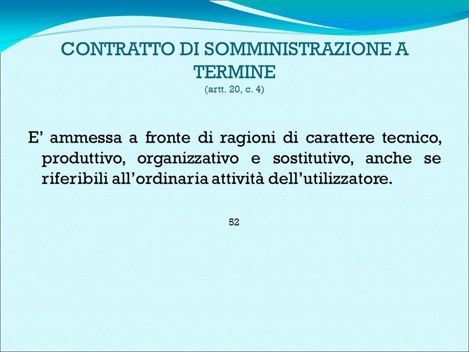 CONTRATTO DI SOMMINISTRAZIONE A TERMINE (artt. 20, c.