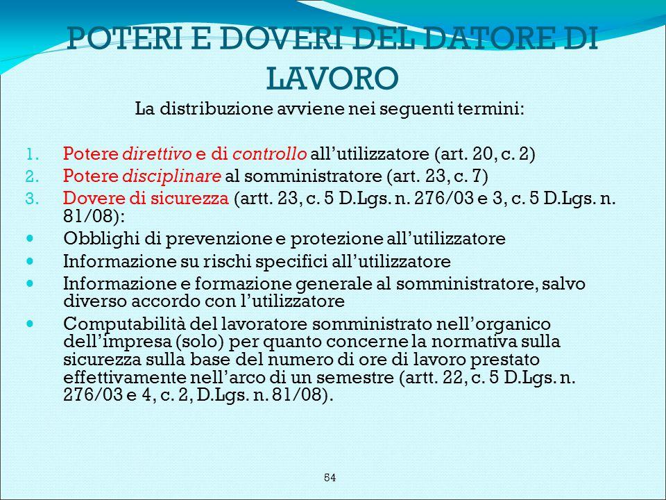 POTERI E DOVERI DEL DATORE DI LAVORO La distribuzione avviene nei seguenti termini: 1.