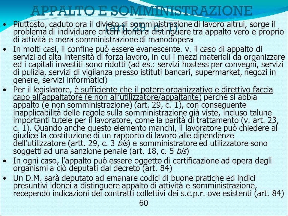 APPALTO E SOMMINISTRAZIONE (art. 29. c.