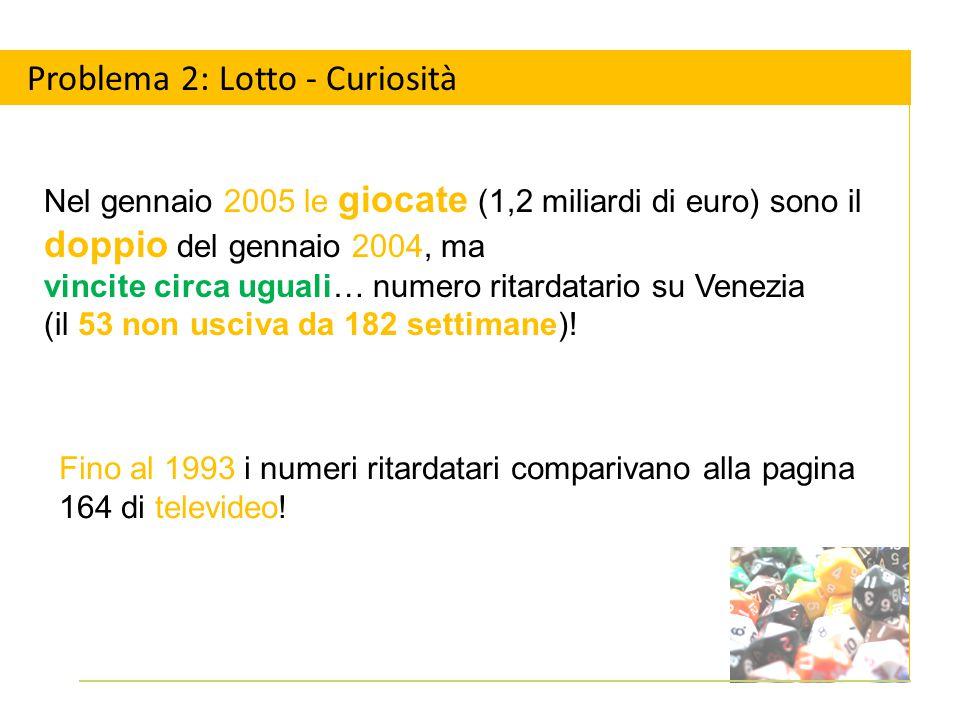 Problema 2: Lotto - Curiosità Fino al 1993 i numeri ritardatari comparivano alla pagina 164 di televideo.