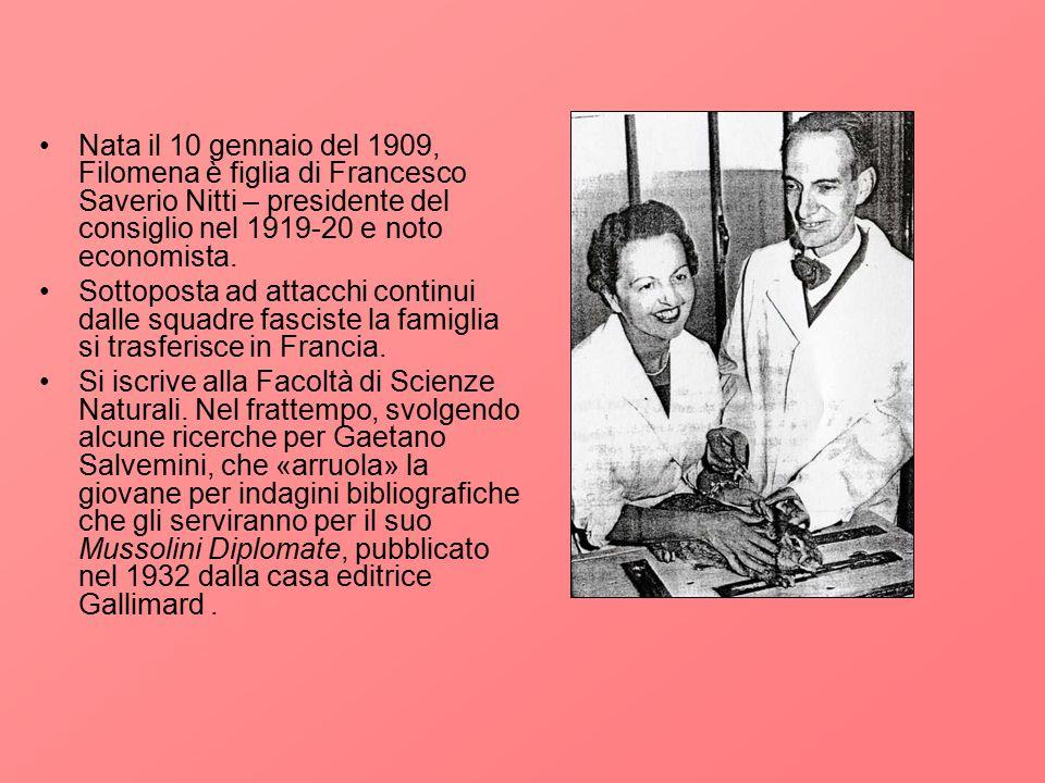Nata il 10 gennaio del 1909, Filomena è figlia di Francesco Saverio Nitti – presidente del consiglio nel 1919-20 e noto economista. Sottoposta ad atta