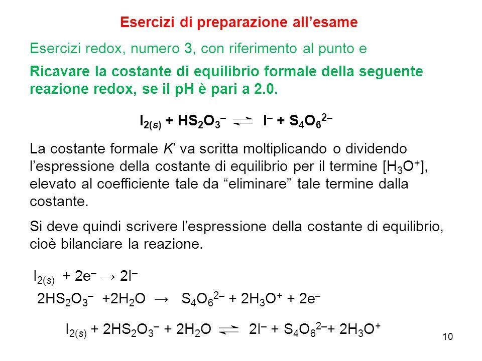 10 Esercizi di preparazione all'esame Ricavare la costante di equilibrio formale della seguente reazione redox, se il pH è pari a 2.0. Esercizi redox,
