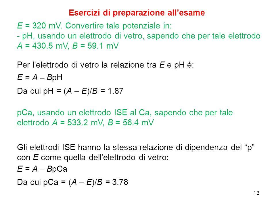 13 Esercizi di preparazione all'esame E = 320 mV. Convertire tale potenziale in: - pH, usando un elettrodo di vetro, sapendo che per tale elettrodo A