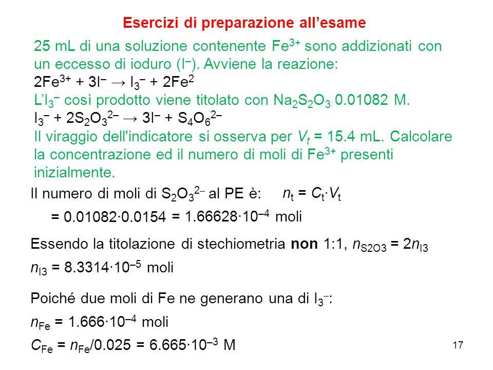17 Esercizi di preparazione all'esame 25 mL di una soluzione contenente Fe 3+ sono addizionati con un eccesso di ioduro (I – ). Avviene la reazione: 2