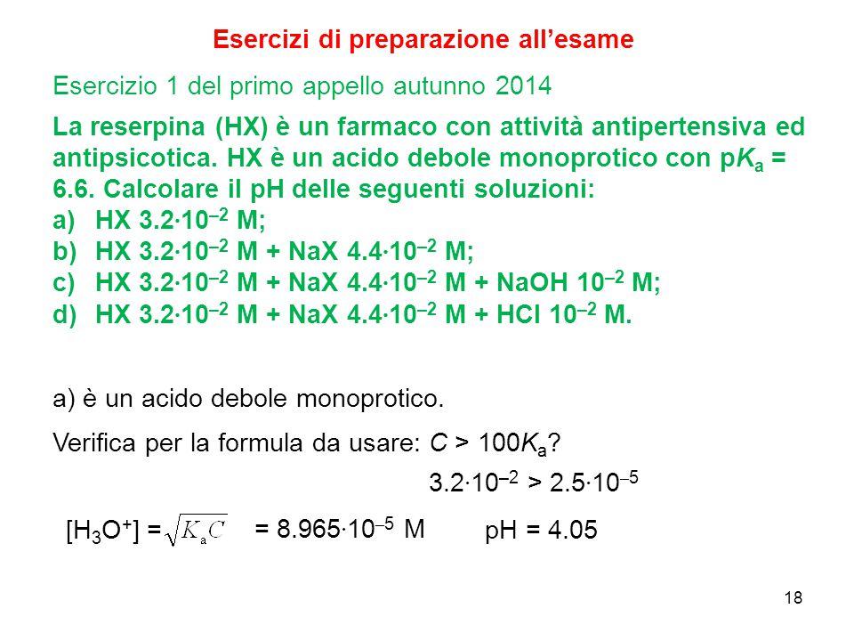 18 Esercizi di preparazione all'esame La reserpina (HX) è un farmaco con attività antipertensiva ed antipsicotica. HX è un acido debole monoprotico co
