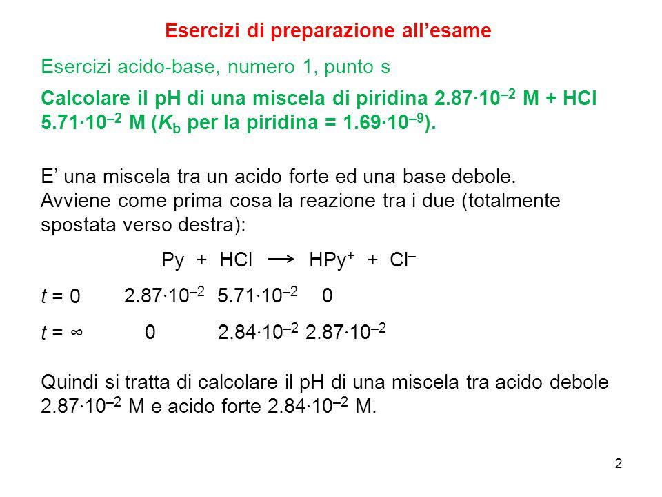 2 Esercizi di preparazione all'esame Calcolare il pH di una miscela di piridina 2.87∙10 –2 M + HCl 5.71∙10 –2 M (K b per la piridina = 1.69∙10 –9 ). E