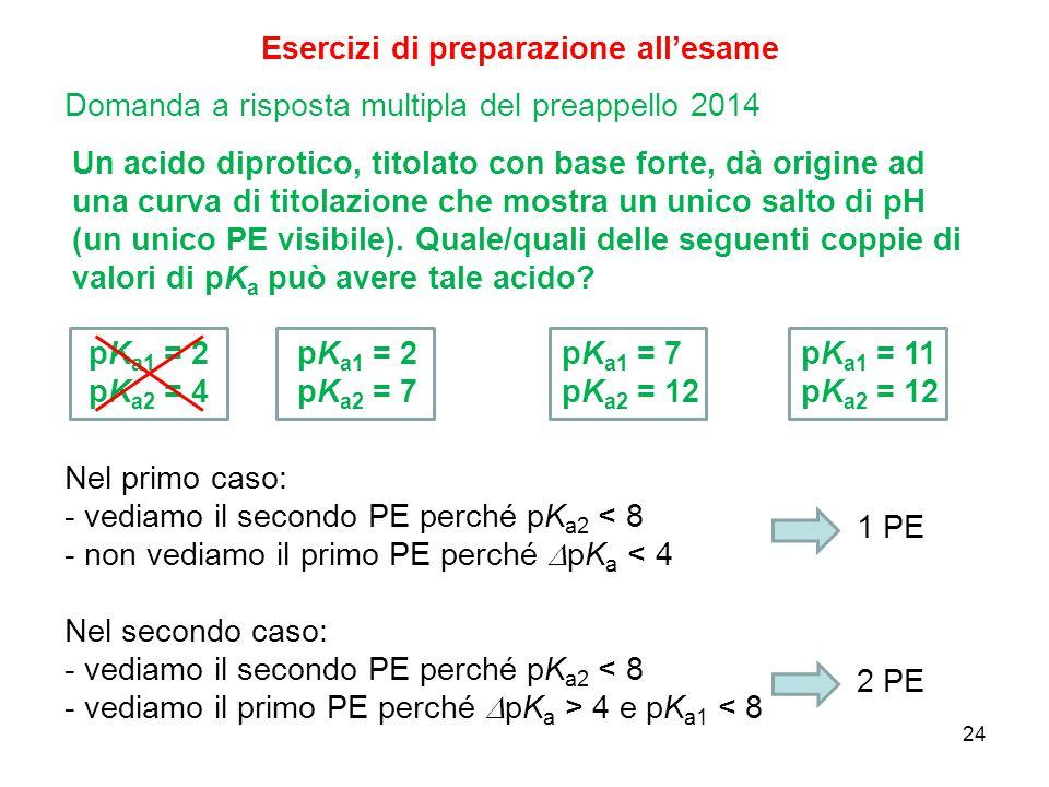 24 Esercizi di preparazione all'esame Un acido diprotico, titolato con base forte, dà origine ad una curva di titolazione che mostra un unico salto di