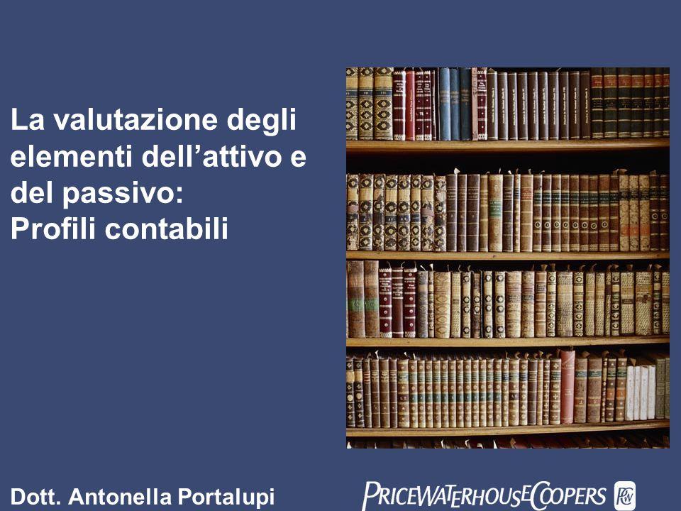 La valutazione degli elementi dell'attivo e del passivo: Profili contabili Dott. Antonella Portalupi