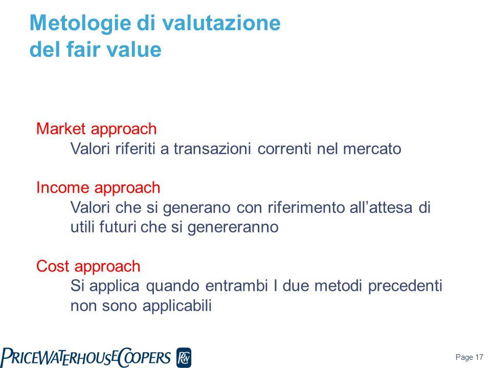 Page 17 Market approach Valori riferiti a transazioni correnti nel mercato Income approach Valori che si generano con riferimento all'attesa di utili futuri che si genereranno Cost approach Si applica quando entrambi I due metodi precedenti non sono applicabili Metologie di valutazione del fair value