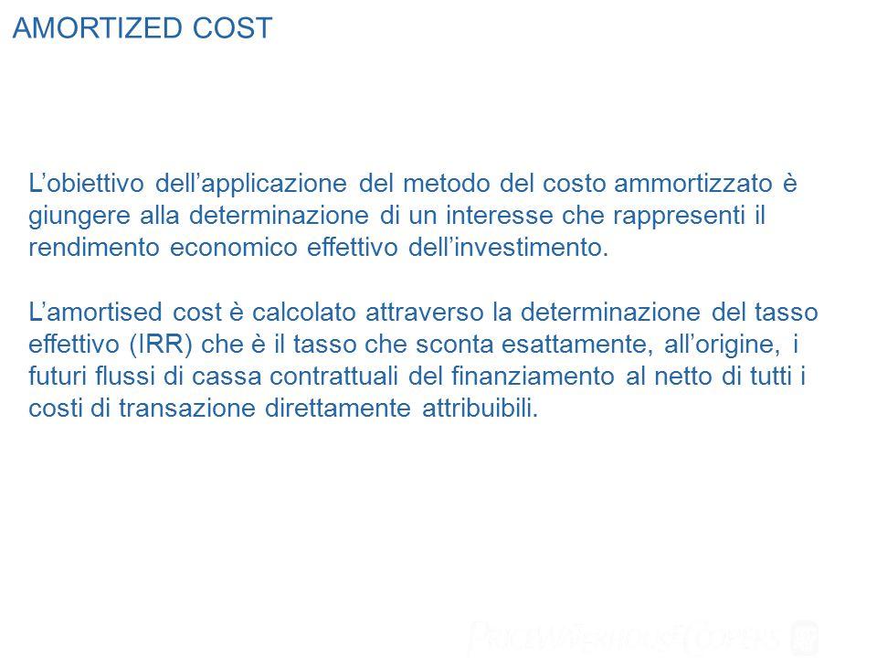 L'obiettivo dell'applicazione del metodo del costo ammortizzato è giungere alla determinazione di un interesse che rappresenti il rendimento economico