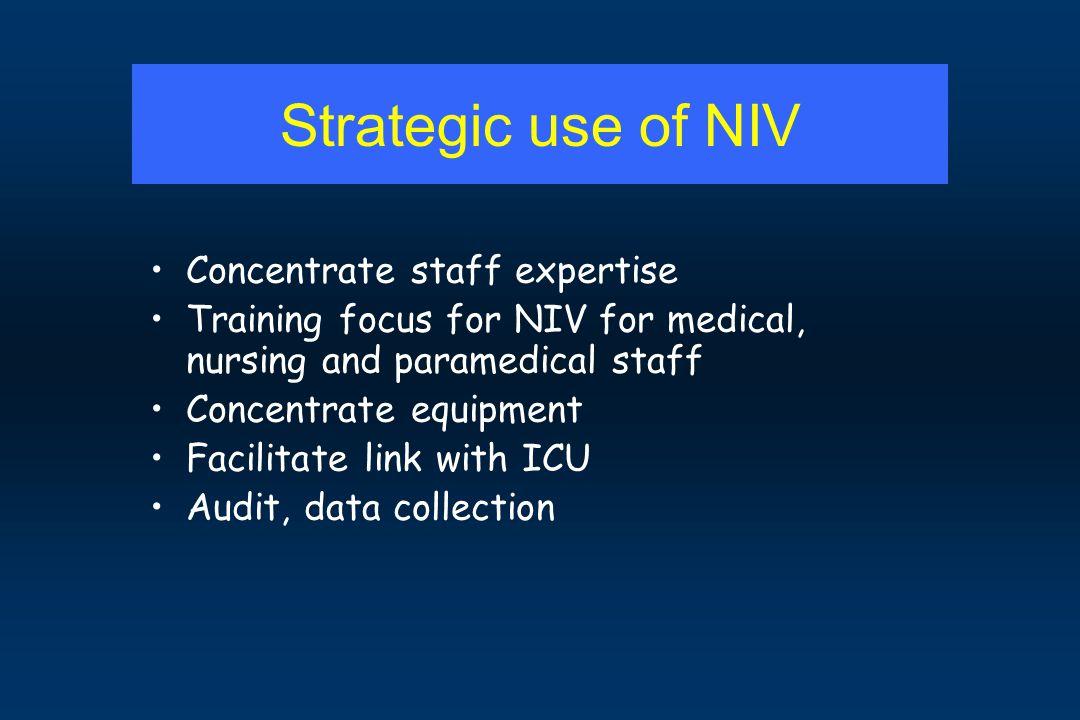 Strategic use of NIV Concentrate staff expertise Training focus for NIV for medical, nursing and paramedical staff Concentrate equipment Facilitate li