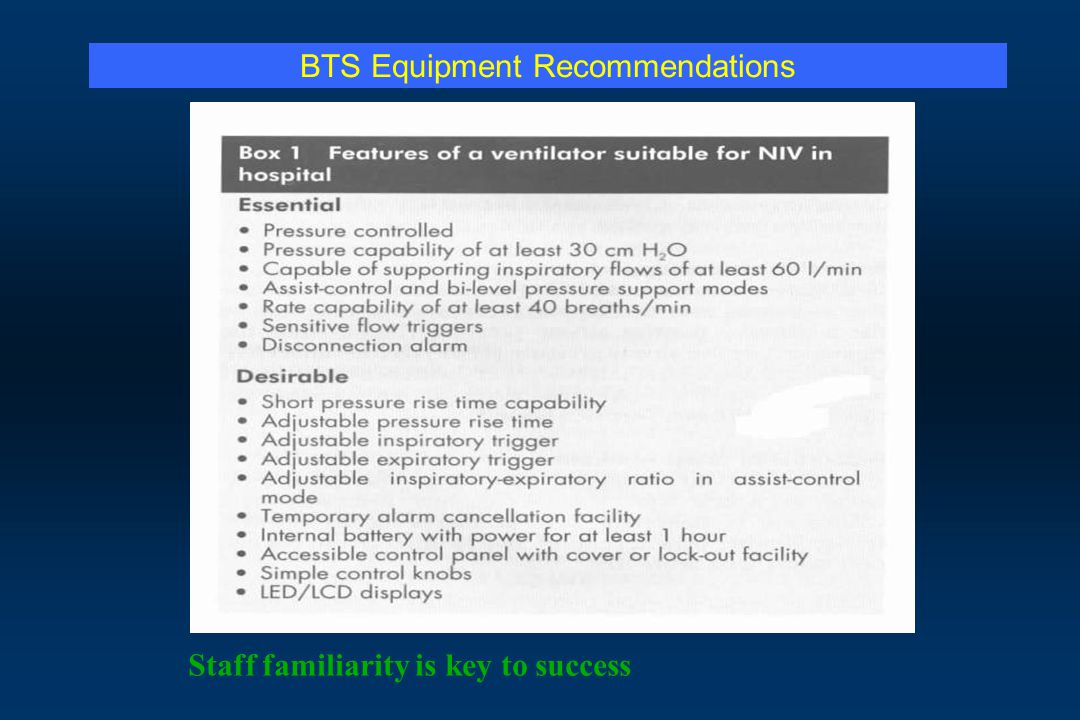 BTS Equipment Recommendations Staff familiarity is key to success