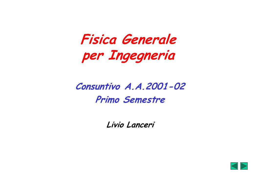 Fisica Generale per Ingegneria Consuntivo A.A.2001-02 Primo Semestre Livio Lanceri