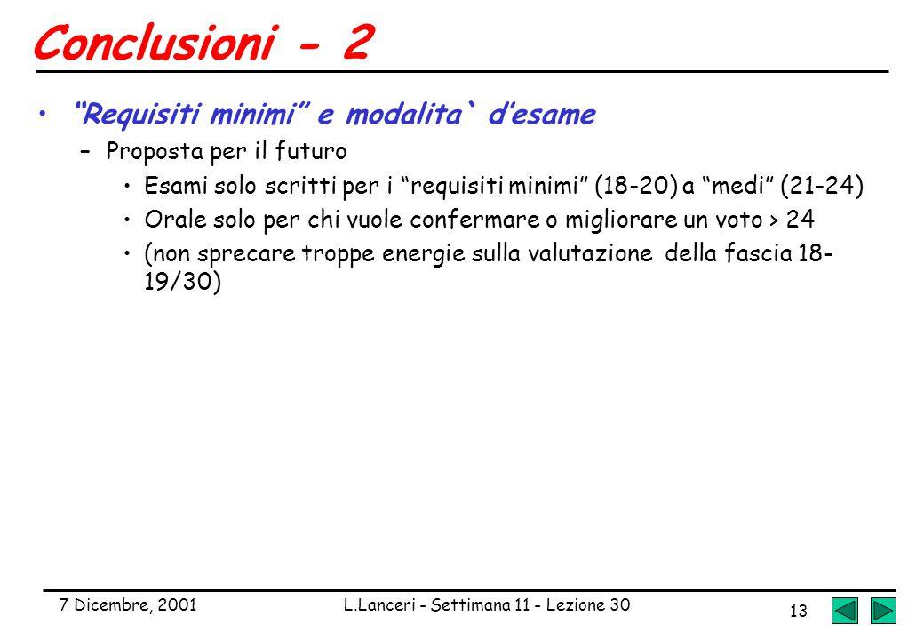 """7 Dicembre, 2001L.Lanceri - Settimana 11 - Lezione 30 13 Conclusioni - 2 """"Requisiti minimi"""" e modalita` d'esame –Proposta per il futuro Esami solo scr"""