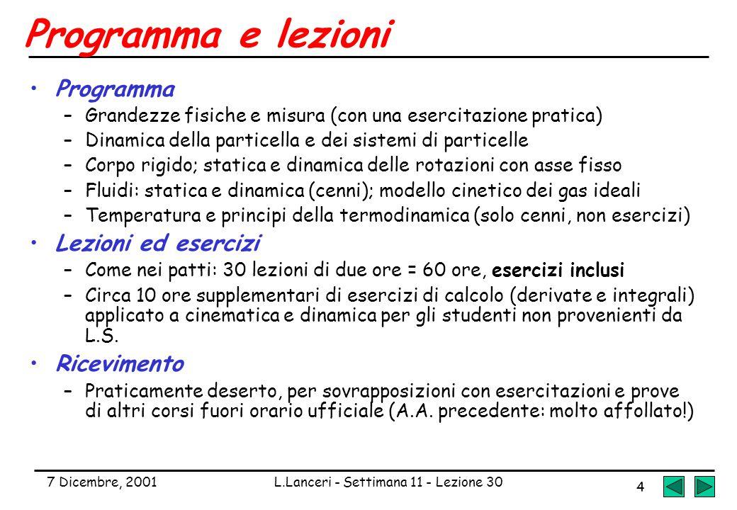 7 Dicembre, 2001L.Lanceri - Settimana 11 - Lezione 30 4 Programma e lezioni Programma –Grandezze fisiche e misura (con una esercitazione pratica) –Din