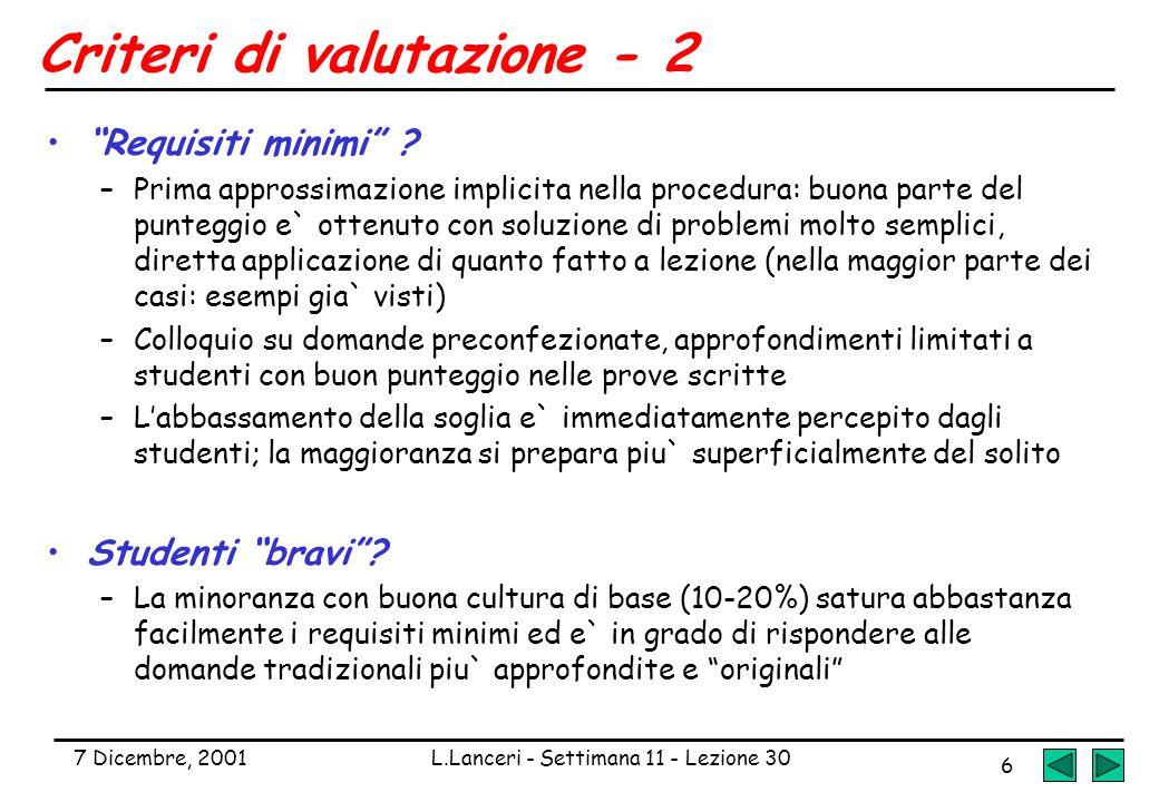 """7 Dicembre, 2001L.Lanceri - Settimana 11 - Lezione 30 6 Criteri di valutazione - 2 """"Requisiti minimi"""" ? –Prima approssimazione implicita nella procedu"""