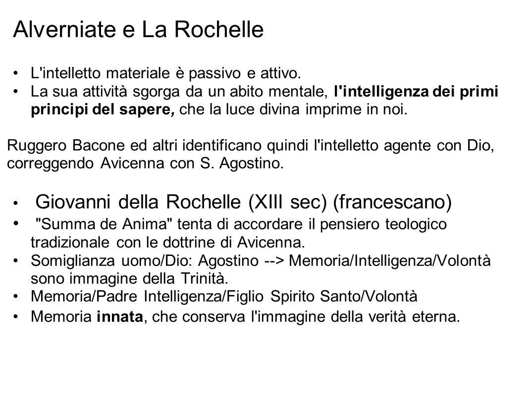 Alverniate e La Rochelle L intelletto materiale è passivo e attivo.