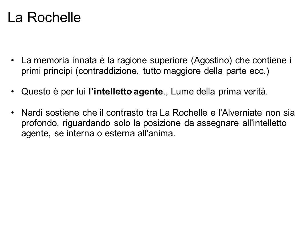 La Rochelle La memoria innata è la ragione superiore (Agostino) che contiene i primi principi (contraddizione, tutto maggiore della parte ecc.) Questo è per lui l intelletto agente., Lume della prima verità.