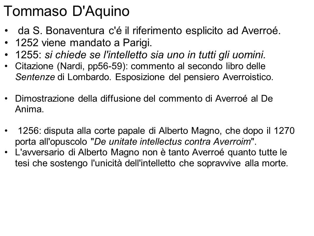 Tommaso D Aquino da S. Bonaventura c é il riferimento esplicito ad Averroé.