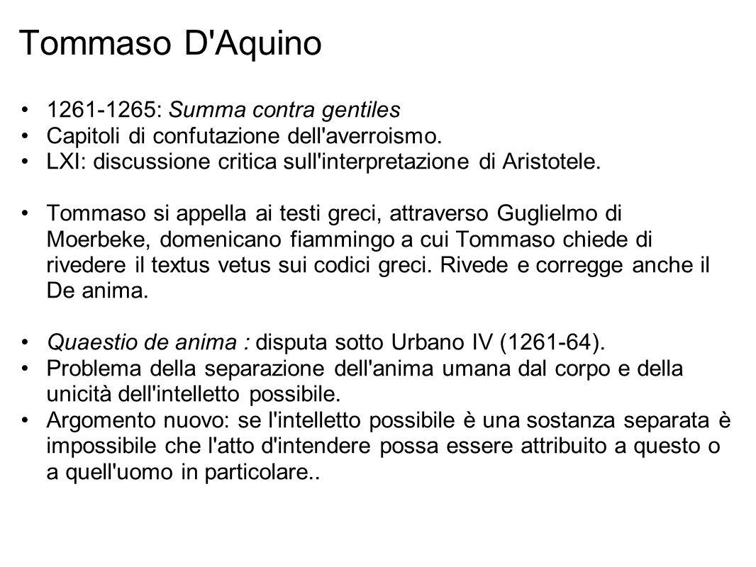 Tommaso D Aquino 1261-1265: Summa contra gentiles Capitoli di confutazione dell averroismo.