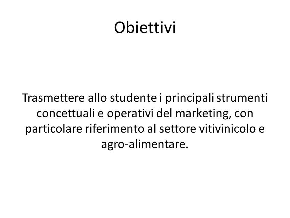 Obiettivi Trasmettere allo studente i principali strumenti concettuali e operativi del marketing, con particolare riferimento al settore vitivinicolo