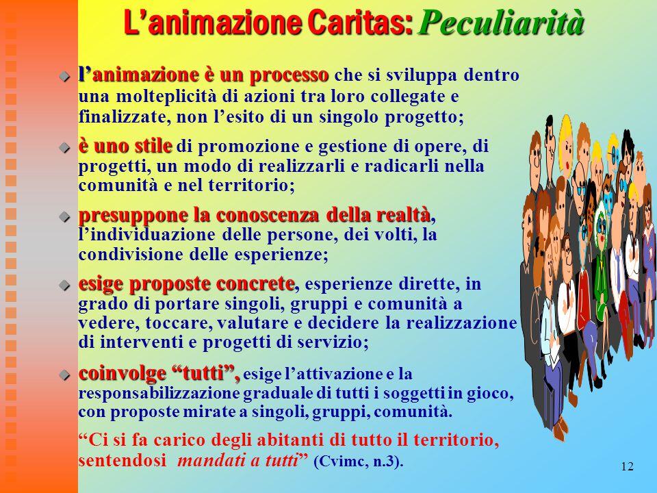 12 L'animazione Caritas: Peculiarità L'animazione Caritas: Peculiarità  l'animazioneè un processo  l'animazione è un processo che si sviluppa dentro una molteplicità di azioni tra loro collegate e finalizzate, non l'esito di un singolo progetto;  è uno stile  è uno stile di promozione e gestione di opere, di progetti, un modo di realizzarli e radicarli nella comunità e nel territorio;  presuppone la conoscenza della realtà  presuppone la conoscenza della realtà, l'individuazione delle persone, dei volti, la condivisione delle esperienze;  esige proposte concrete  esige proposte concrete, esperienze dirette, in grado di portare singoli, gruppi e comunità a vedere, toccare, valutare e decidere la realizzazione di interventi e progetti di servizio;  coinvolge tutti ,  coinvolge tutti , esige l'attivazione e la responsabilizzazione graduale di tutti i soggetti in gioco, con proposte mirate a singoli, gruppi, comunità.