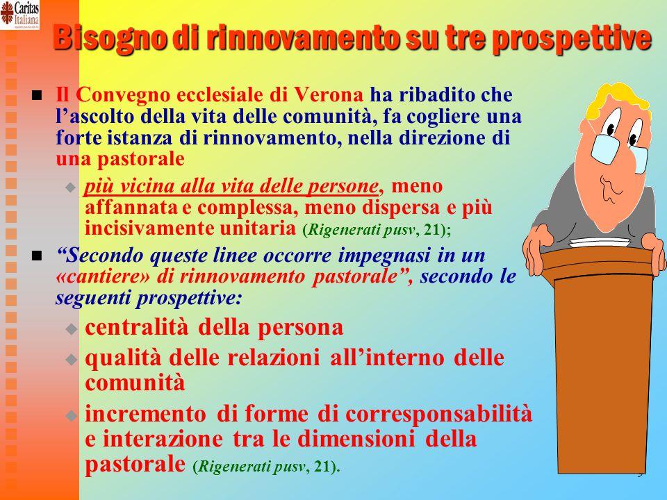 9 Bisogno di rinnovamento su tre prospettive Il Convegno ecclesiale di Verona ha ribadito che l'ascolto della vita delle comunità, fa cogliere una forte istanza di rinnovamento, nella direzione di una pastorale   più vicina alla vita delle persone, meno affannata e complessa, meno dispersa e più incisivamente unitaria (Rigenerati pusv, 21); Secondo queste linee occorre impegnasi in un «cantiere» di rinnovamento pastorale , secondo le seguenti prospettive:   centralità della persona   qualità delle relazioni all'interno delle comunità   incremento di forme di corresponsabilità e interazione tra le dimensioni della pastorale (Rigenerati pusv, 21).
