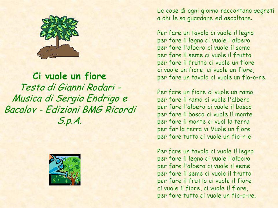 Ci vuole un fiore Testo di Gianni Rodari - Musica di Sergio Endrigo e Bacalov - Edizioni BMG Ricordi S.p.A. Le cose di ogni giorno raccontano segreti
