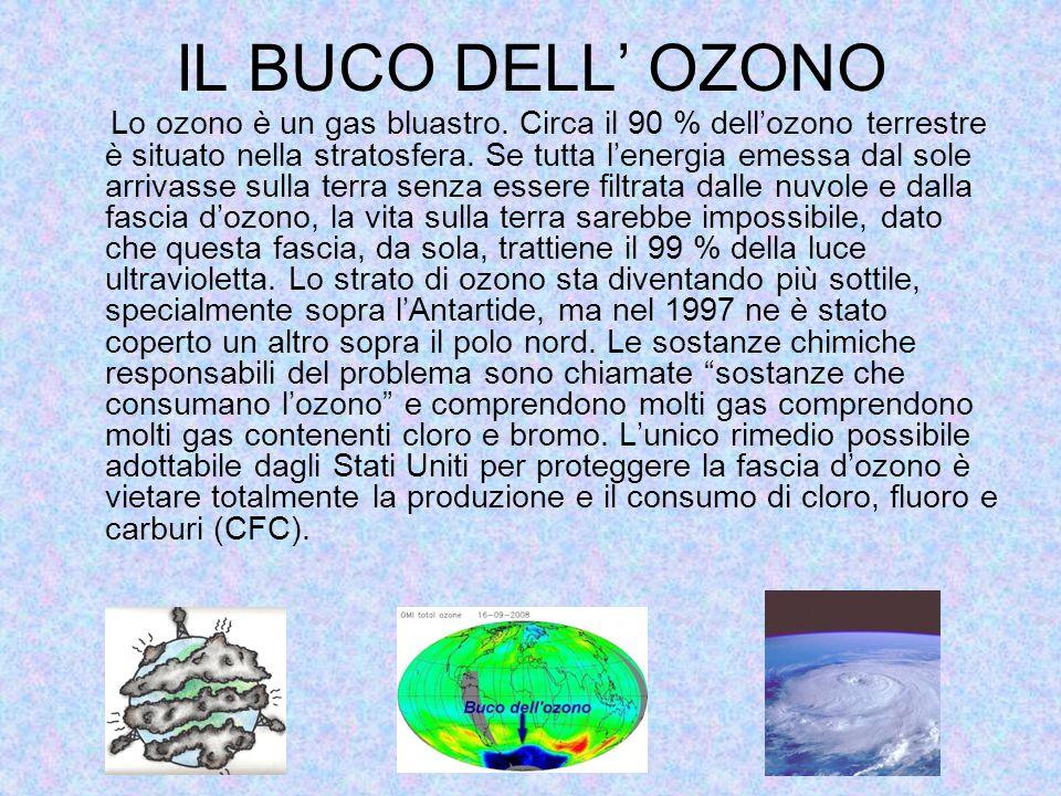IL BUCO DELL' OZONO Lo ozono è un gas bluastro.
