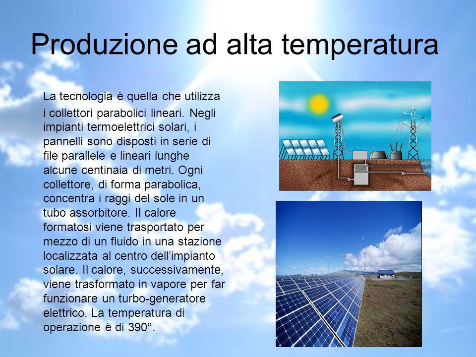 Produzione ad alta temperatura La tecnologia è quella che utilizza i collettori parabolici lineari.