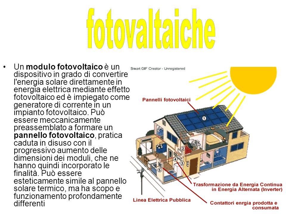 Un modulo fotovoltaico è un dispositivo in grado di convertire l energia solare direttamente in energia elettrica mediante effetto fotovoltaico ed è impiegato come generatore di corrente in un impianto fotovoltaico.