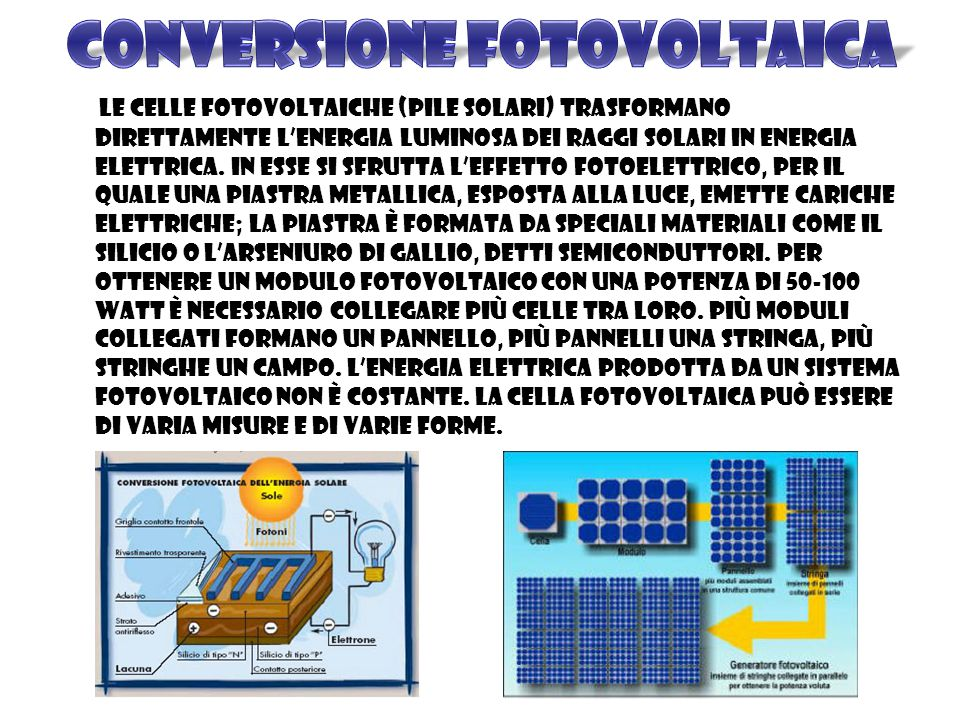 Le celle fotovoltaiche (pile solari) trasformano direttamente l'energia luminosa dei raggi solari in energia elettrica.